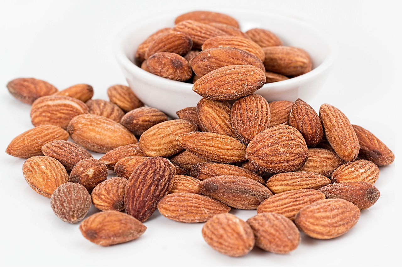<strong>Almonds</strong> <hr> My favorite is mixed with dark chocolate. Healthy protein and fat. High in calories which is good for putting on muscle, but not so much if trying to lose weight. Portion accordingly.