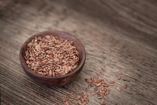 <strong>Flaxseed</strong> <hr> Ground to make easier to digest. High in fiber and protein. Combine into smoothie, yogurt, or salad.