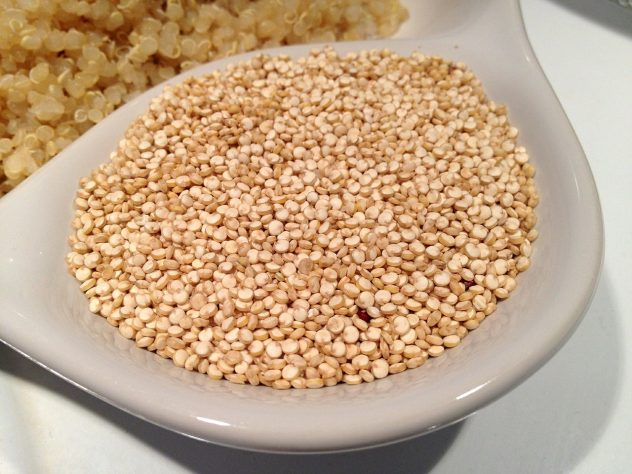 <strong>Quinoa</strong> <hr> High in protein and carbohydrates. My preference over rice and other grains. Comes in a variety of colors.